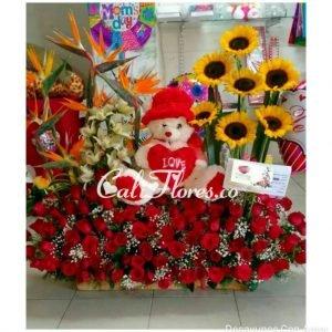 Regalos Cali Colombia | Se compone de Jardinera grande rosas rojas ,aves ,girasoles y peluche Para mas información: Celular: 316 705 28 09